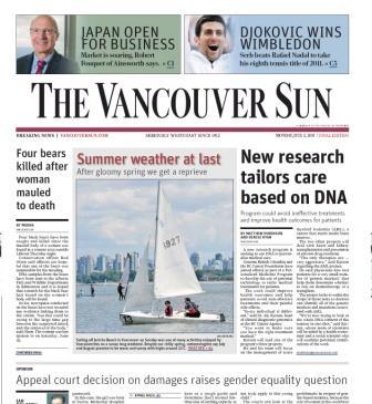 Vancouver Sun newspaper snapshot